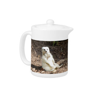 Cheeky White Meerkat, Small Teapot.