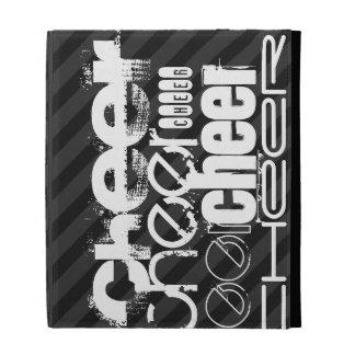 Cheer; Black & Dark Gray Stripes iPad Folio Cover
