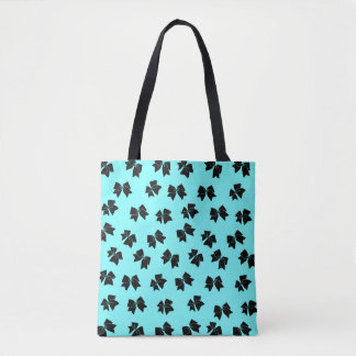 Cheer Bow Tote - Black on Blue