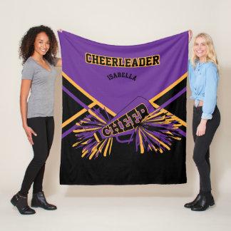 Cheer Cheerleader - Purple, Gold & Black 2 Fleece Blanket