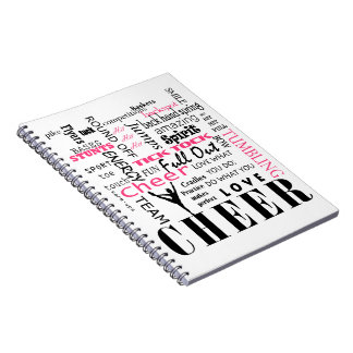 cheer cheerleading pink and black notebook