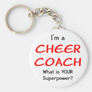 Cheer coach basic round button keychain