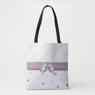 Cheer Coach Polka Dots Pink Gray Silver Tote Bag