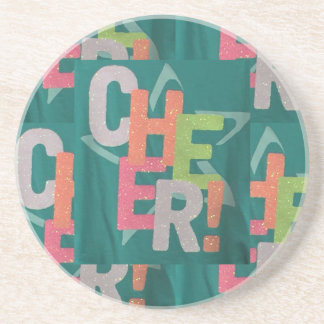 CHEER colorful artistic text pattern deco fashion Drink Coaster