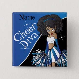 Cheer Diva Cheerleader Girl | DIY  Name | Blue 2 Inch Square Button