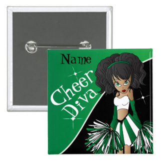 Cheer Diva Cheerleader Girl | DIY Name | Green 2 Inch Square Button