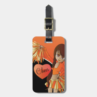 Cheer Diva Orange Cheerleader Luggage Tag