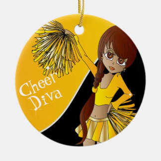 Cheer Diva Yellow Cheerleader Girl Ornaments