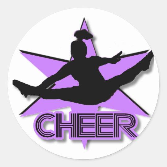Cheer in purple classic round sticker