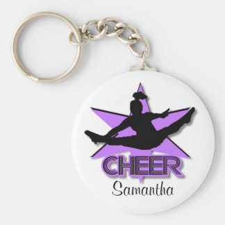 Cheer in purple personalized keychain
