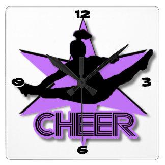 Cheer leader in purple clock