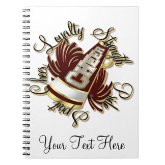 Cheer Maroon and Gold Qualities Notebook