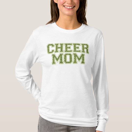 Cheer Mom Green Glitter T-Shirt