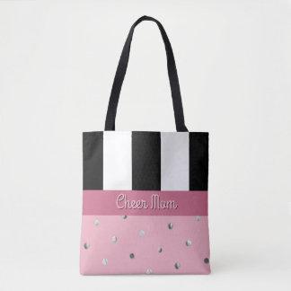 Cheer Mom Polka Dot Black Stripes Pink Gray Silver Tote Bag