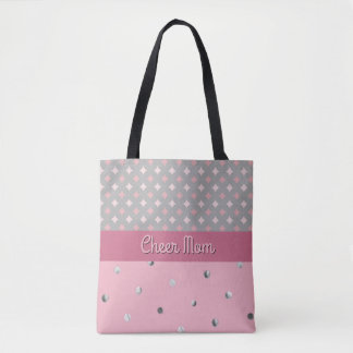 Cheer Mom Polka Dot Pink Diamonds Gray Silver Tote Bag