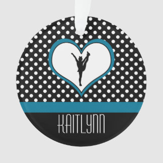 Cheer Polka-Dotted Heart in Teal Blue Ornament
