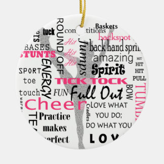 Cheer Round Ceramic Ornament