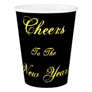 Cheer to the New Year! Black Paper Party Cups Paper Cup