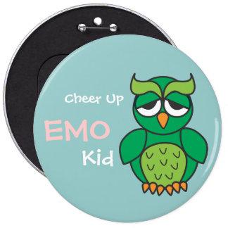 Cheer Up Emo Kid Owl 6 Inch Round Button