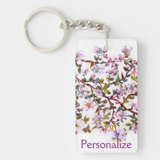 Cheerful Apple Blossom Blooms Acrylic Painting Rectangle Acrylic Keychain