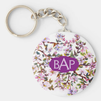 Cheerful Apple Blossom Flowers Acrylic Painting Basic Round Button Keychain