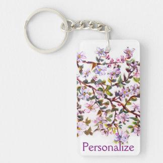 Cheerful Apple Blossom Flowers Acrylic Painting Double-Sided Rectangular Acrylic Keychain