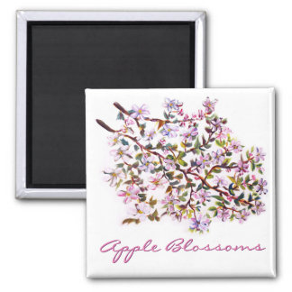 Cheerful Apple Blossom Flowers Acrylic Painting Magnets
