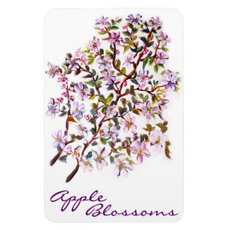 Cheerful Apple Blossom Flowers Acrylic Painting Flexible Magnets