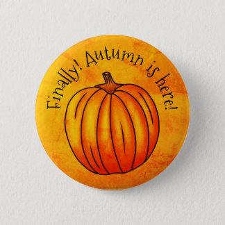 Cheerful Autumn pumpkin 2 Inch Round Button