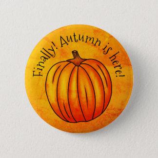 Cheerful Autumn pumpkin 2 Inch Round Button