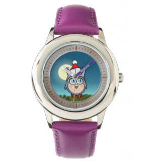 Cheerful Baby Owl With Christmas Hat Cartoon Wrist Watches