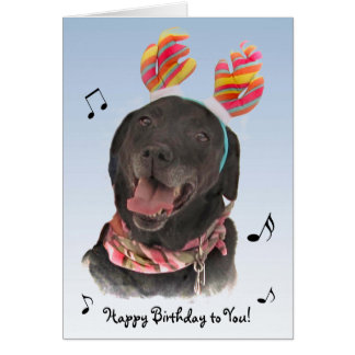 Cheerful Black Labrador Retriever Dog Birthday Card