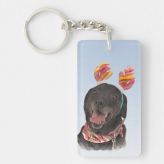 Cheerful Black Labrador Retriever Dog Keychain