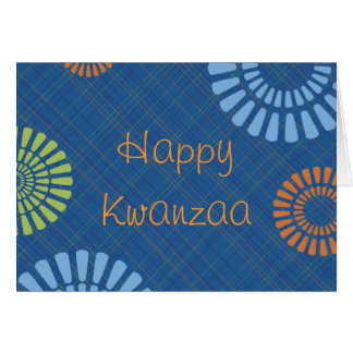 Cheerful Blue Plaid Kwanzaa Greeting Card