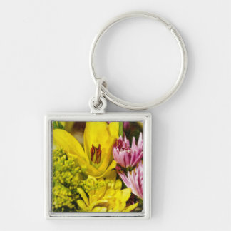 Cheerful Bouquet Painterly Silver-Colored Square Keychain