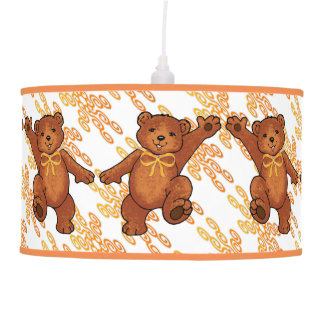 Cheerful Brown Teddy Bears With Orange Bows Hanging Lamps