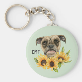 Cheerful | Bulldog Mix with Sunflowers | Monogram Keychain