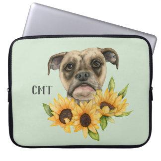 Cheerful | Bulldog Mix with Sunflowers | Monogram Laptop Sleeve