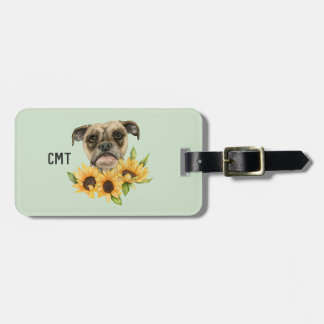 Cheerful | Bulldog Mix with Sunflowers | Monogram Luggage Tag