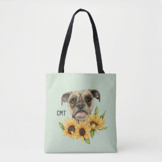 Cheerful | Bulldog Mix with Sunflowers Monogram Tote Bag
