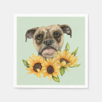 Cheerful | Bulldog Mix with Sunflowers Watercolor Napkin