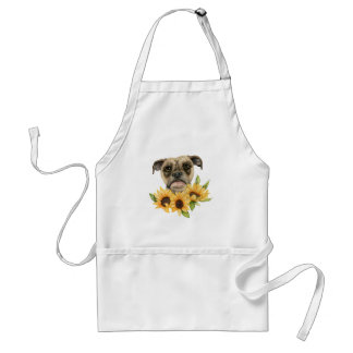 Cheerful | Bulldog Mix with Sunflowers Watercolor Standard Apron
