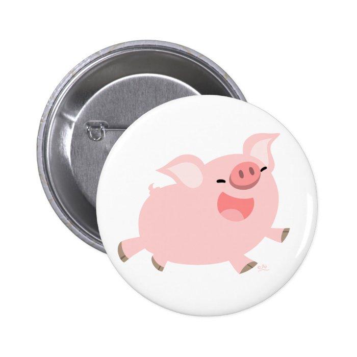 Cheerful Cartoon Pig button badge