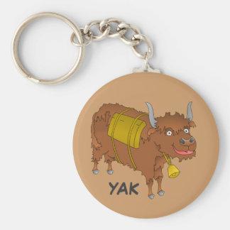 Cheerful cartoon yak basic round button keychain