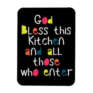 Cheerful Chic God Bless This Kitchen Fridge Gift Magnet