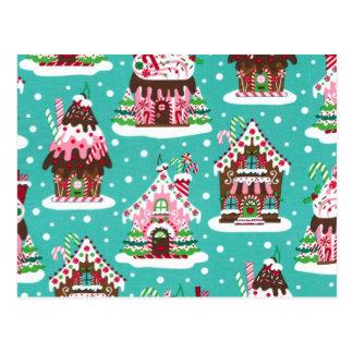 Cheerful Christmas gingerbread house Postcard