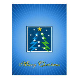 Cheerful Christmas Greetings Blue Postcard