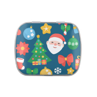 Cheerful Christmas Pattern on Blue