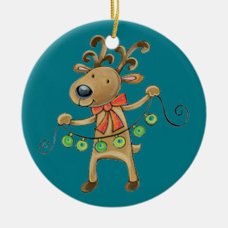 Cheerful Christmas reindeer Ceramic Ornament