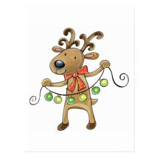 Cheerful Christmas reindeer Postcard